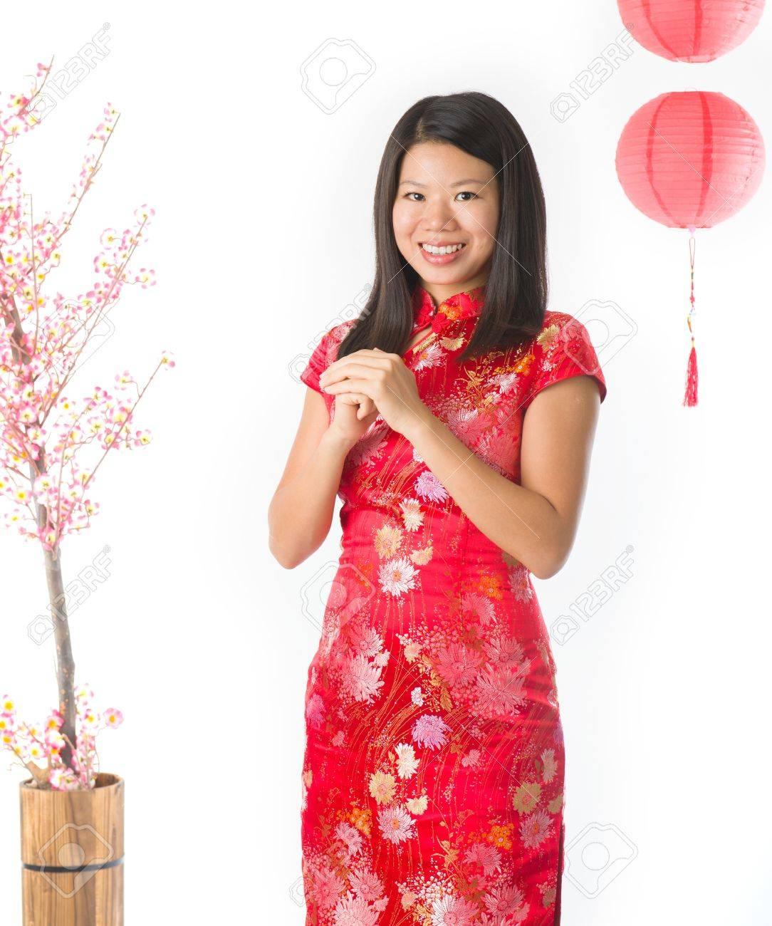 Happy Chinese New Year Asiatische Mädchen. Asian Girl Doing Gruß ...