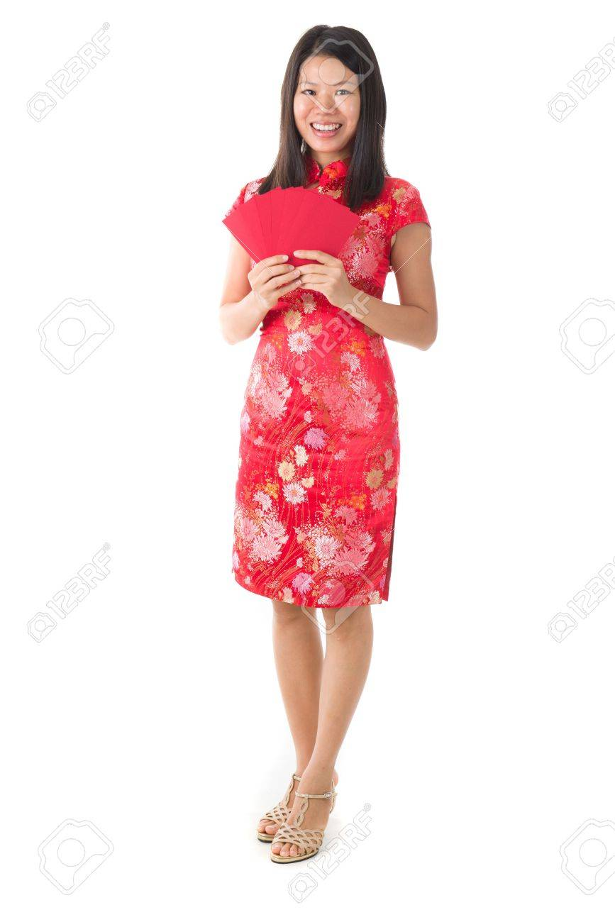 Chinese New Year Girl Greetomg Mit Ang Pow Zeichen Für Wohlstand ...