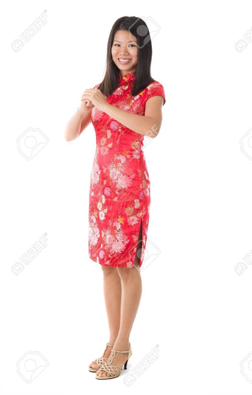 Chinese New Year Girl Begrüßung In Weiß, Voller Körper Isoliert ...