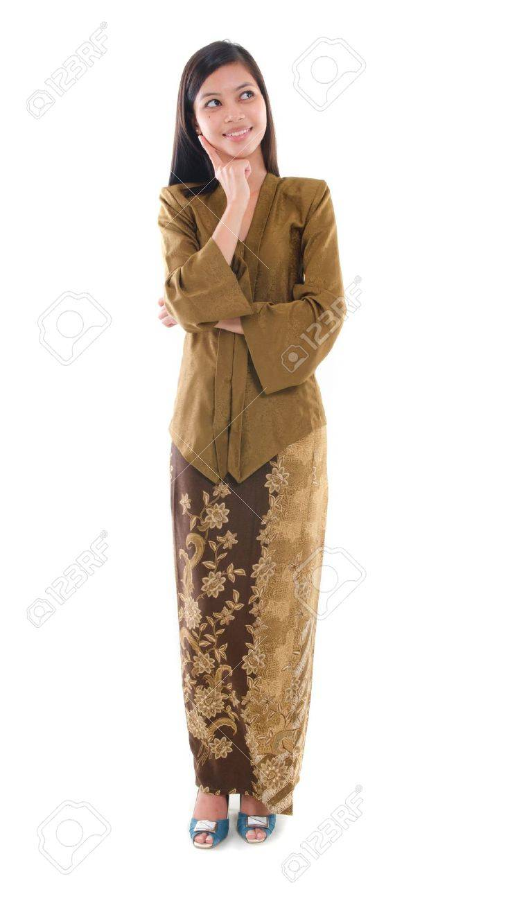 South East Asian Female In Kebaya Dress Malay Ethnicity Isolated