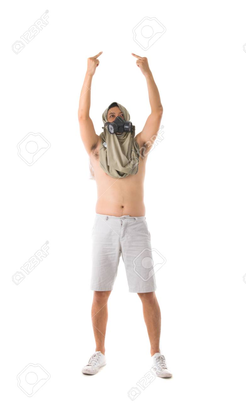 angry protestor with middle fingers isolated in white Stock Photo - 17046222