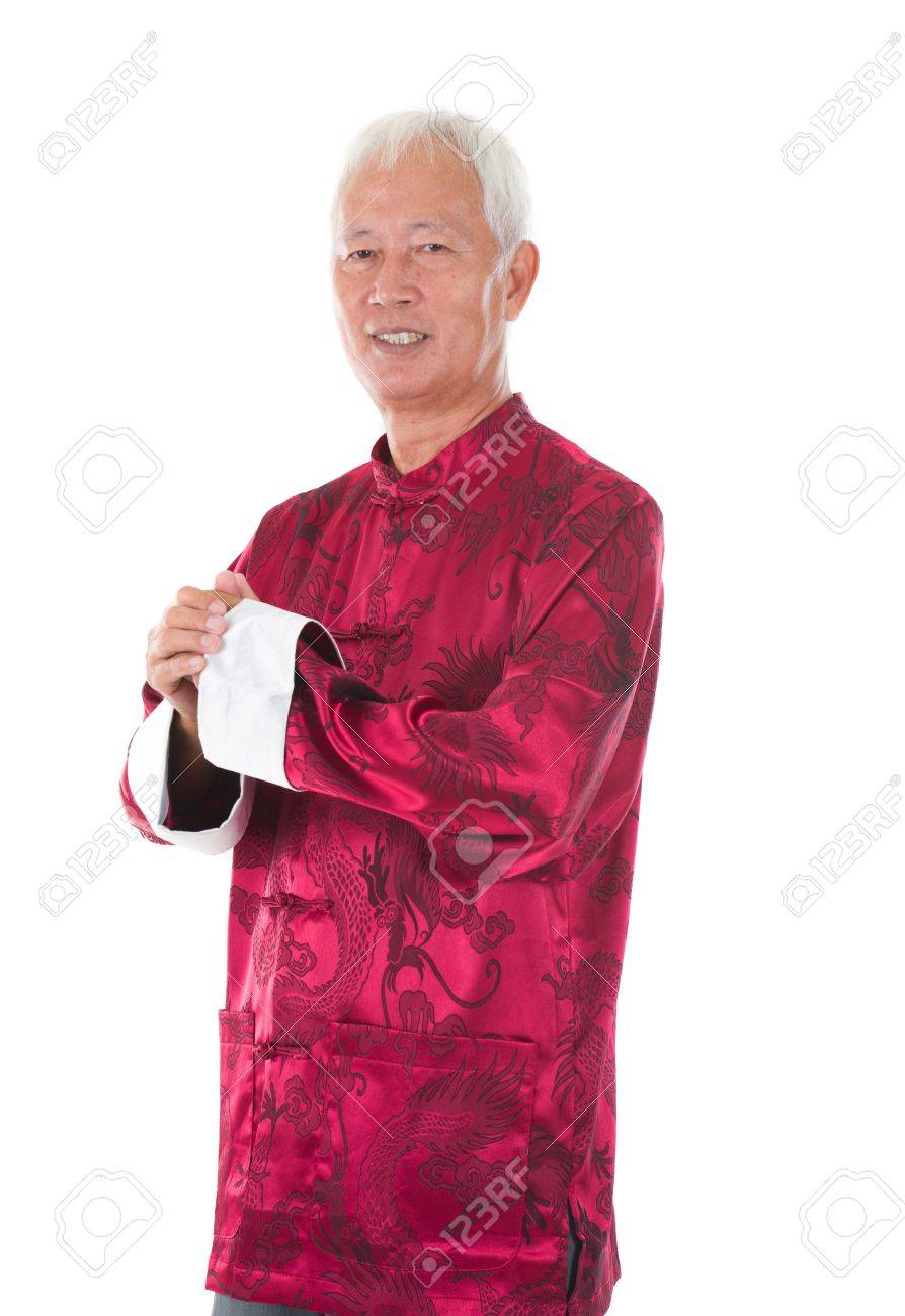 f8eae2681 asian senior chinese man celebrating lunar new year, with traditional  clothing Stock Photo - 17385709
