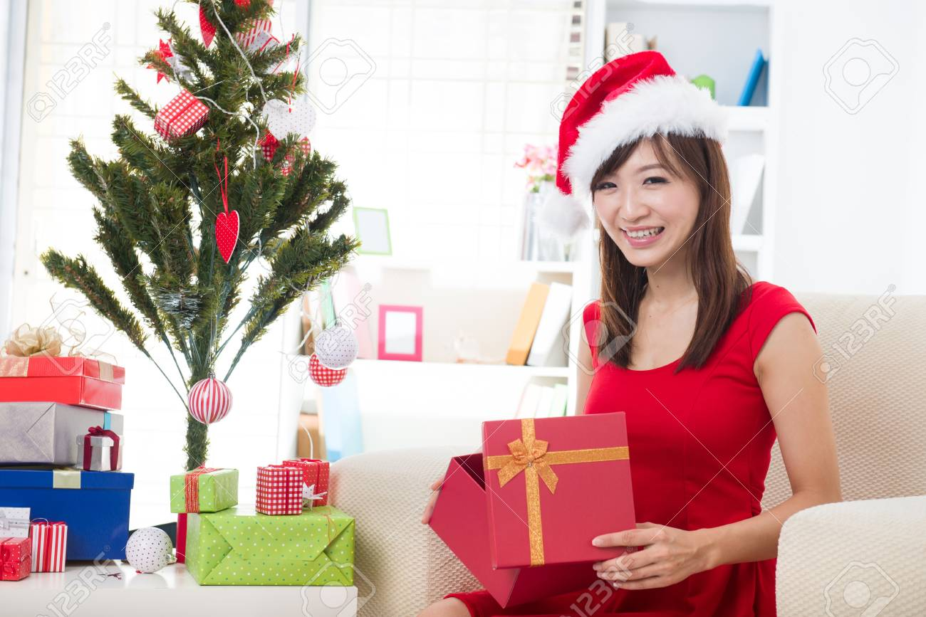 asian girl christmas celebration at her home Stock Photo - 18573789