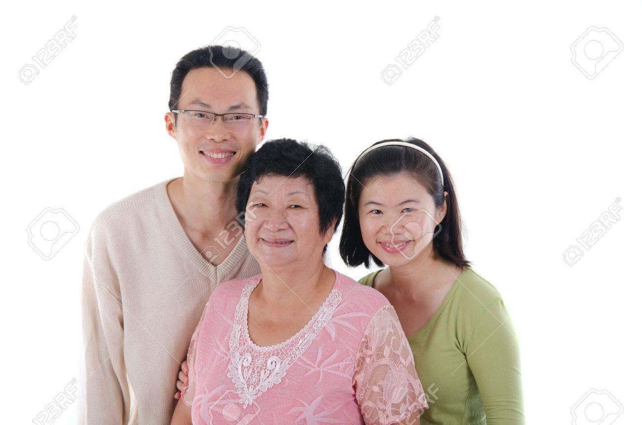 chinese family isolated on white background Stock Photo - 20312229