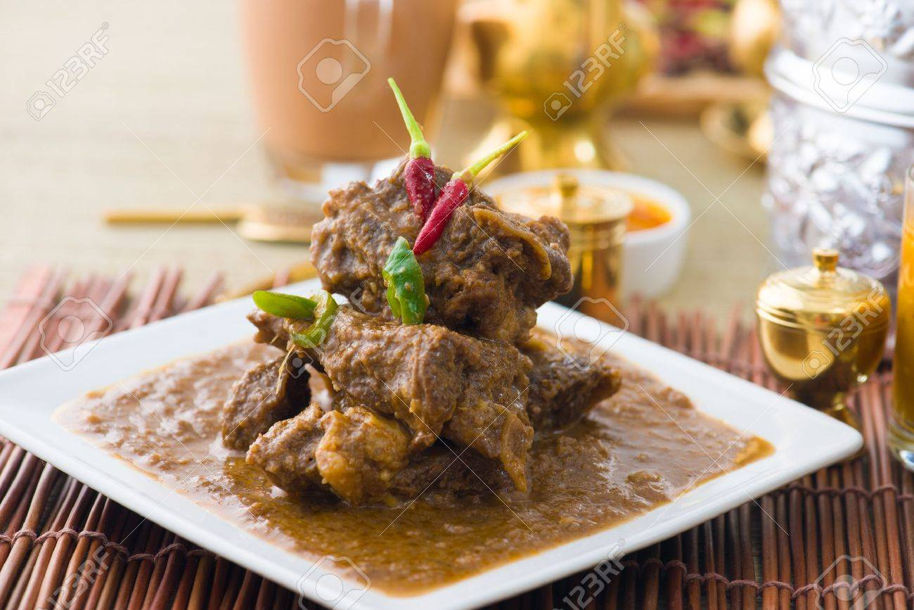 mutton korma famous food with traditional indian background items Stock Photo - 21846507