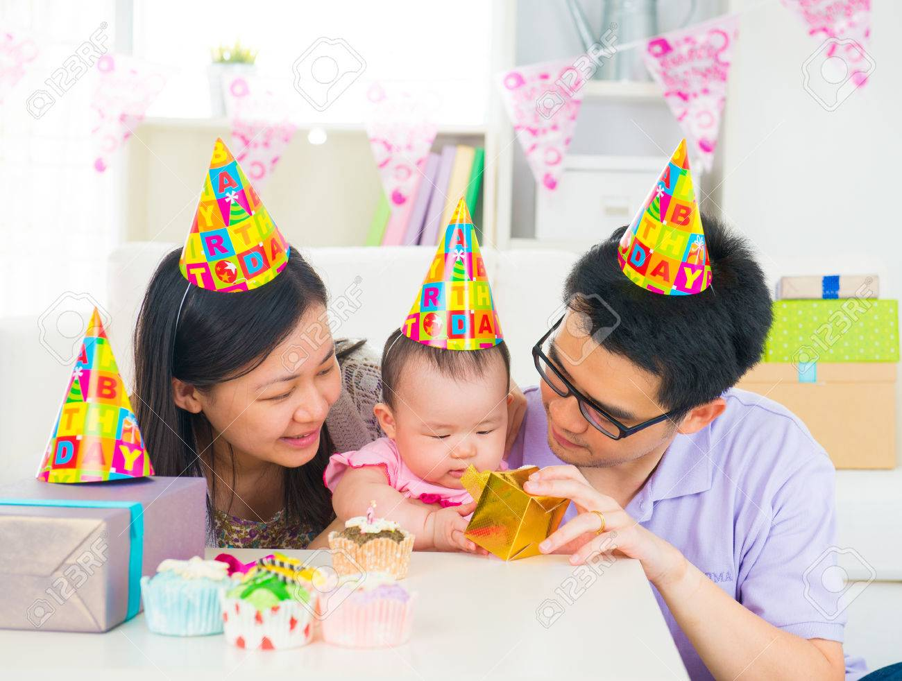 asian family celebrating baby full moon party Stock Photo - 22639505