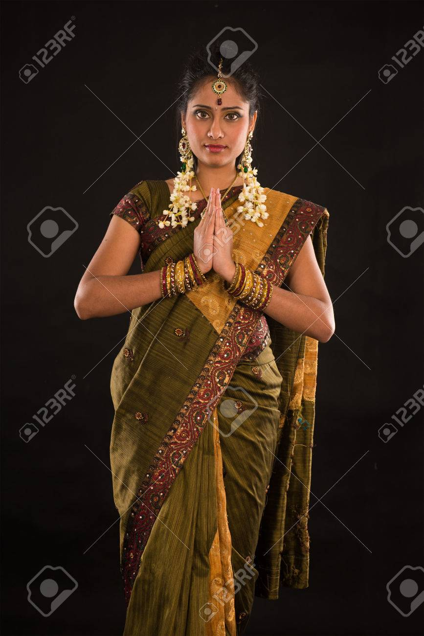 a2a78d92b3 indian female in traditional saree dress and diwali greeting Stock Photo -  22729360