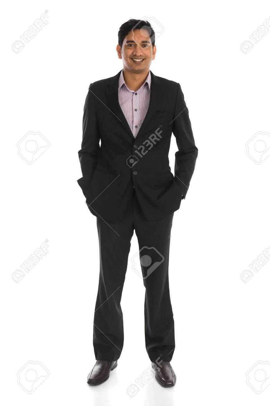 indian male business man with isolated white background full body Stock Photo - 26208872