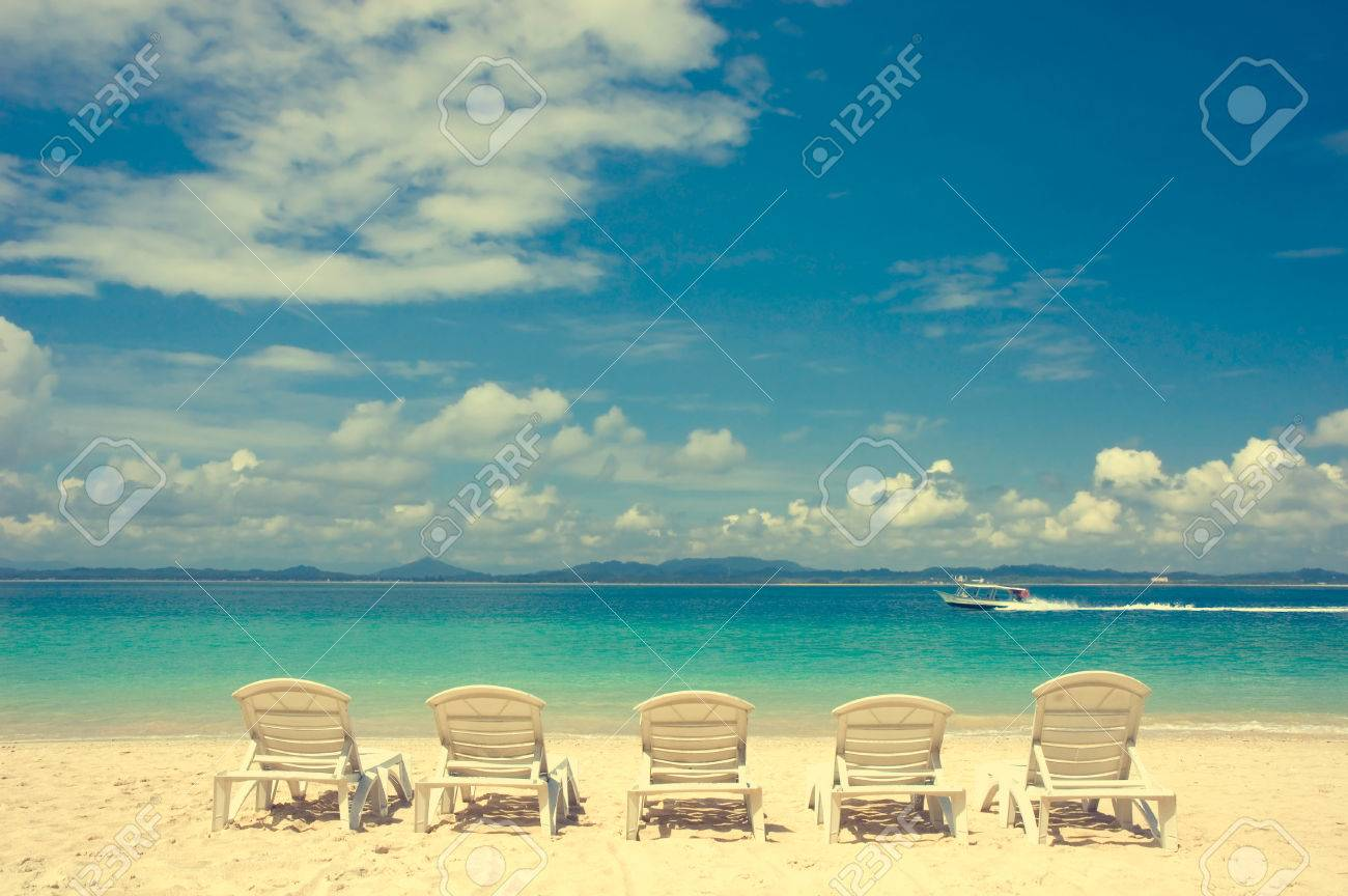 Beach with chairs - Vintage Beach With Chairs Retro Effect Stock Photo 26622448