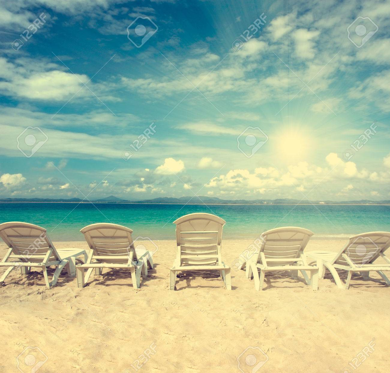 Beach with chairs - Chairs On Beach With Blue Sky For Summer Holiday Vintage Retro Filter