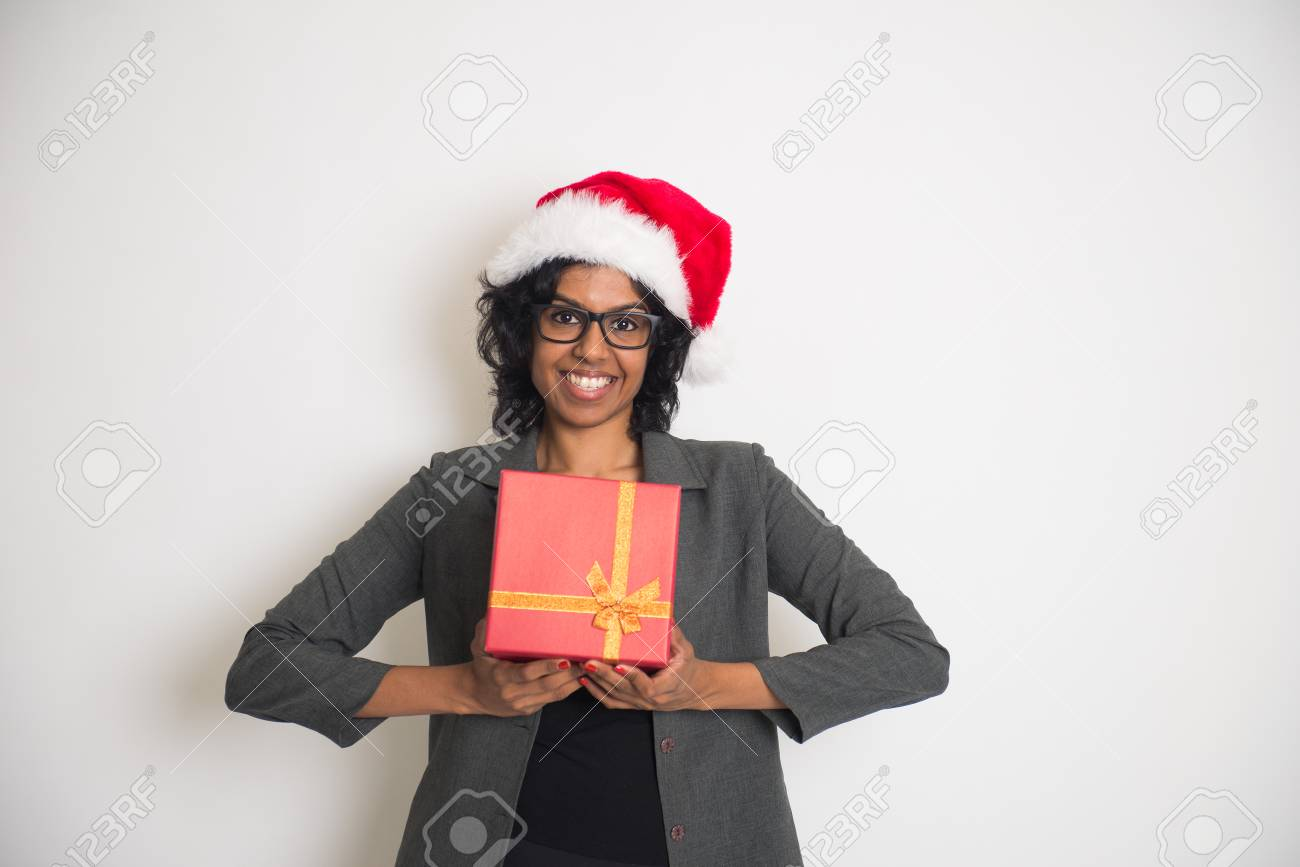Indian Business Woman Receiving Christmas Present Stock Photo ...