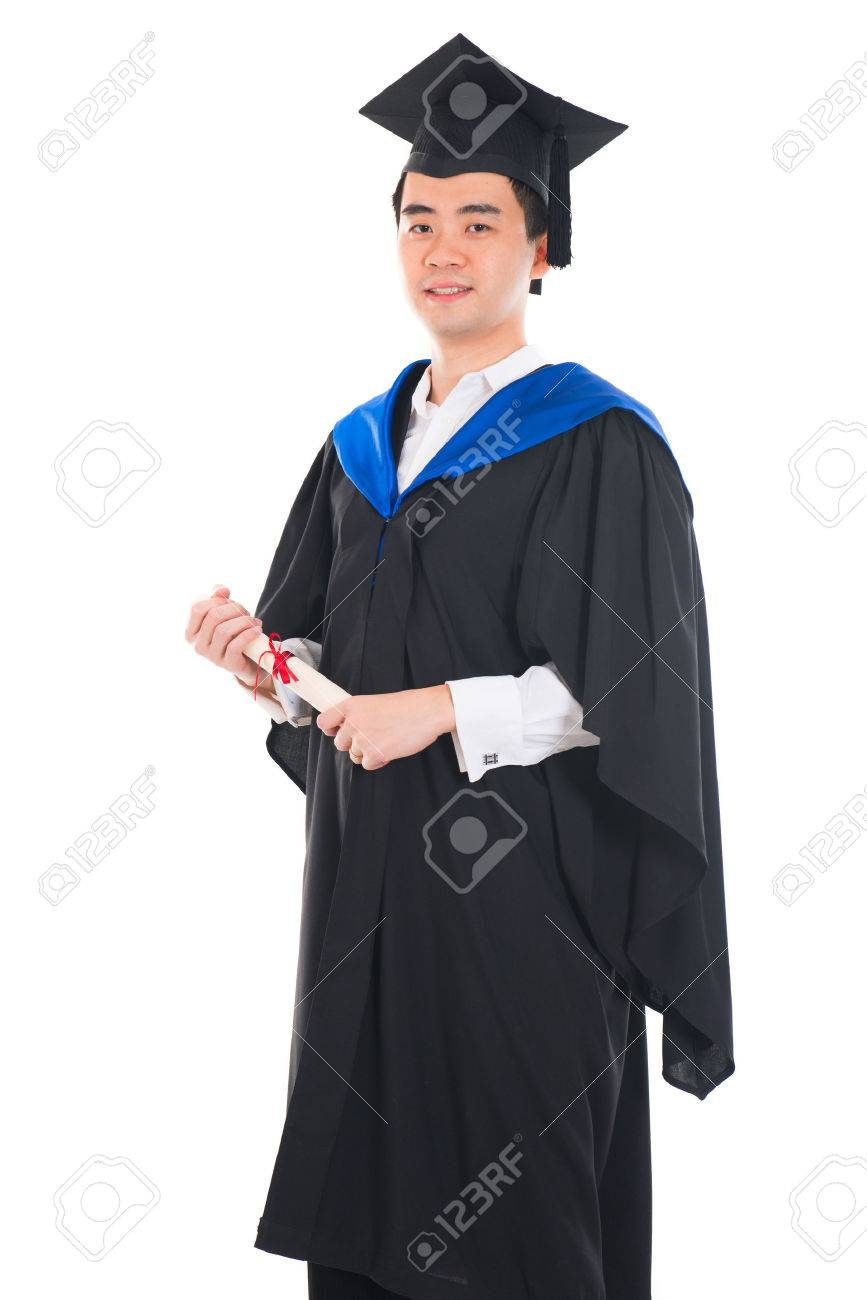happy asian young male graduate with white background Stock Photo - 29405387