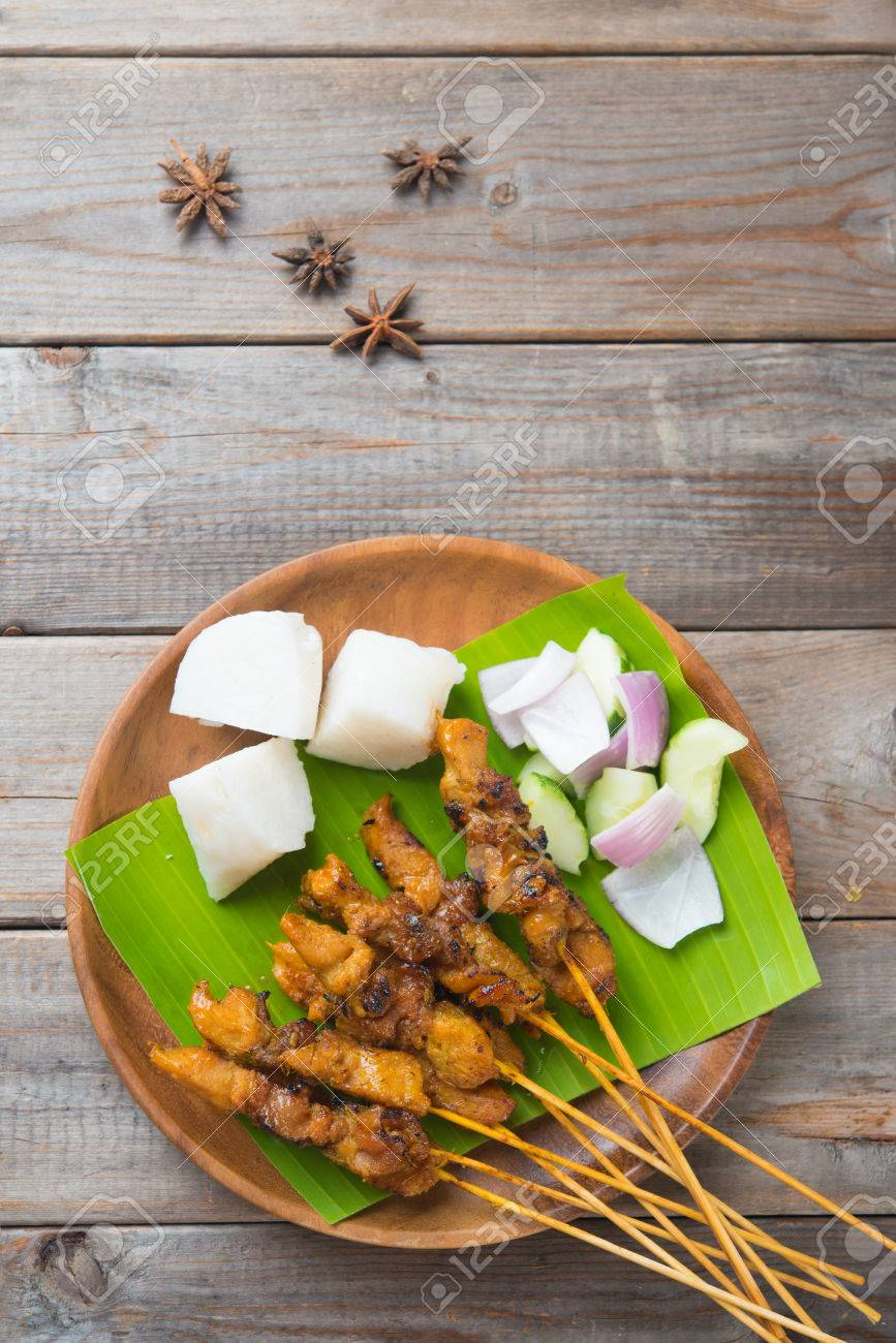 chicken satay shot from top down Stock Photo - 31531919