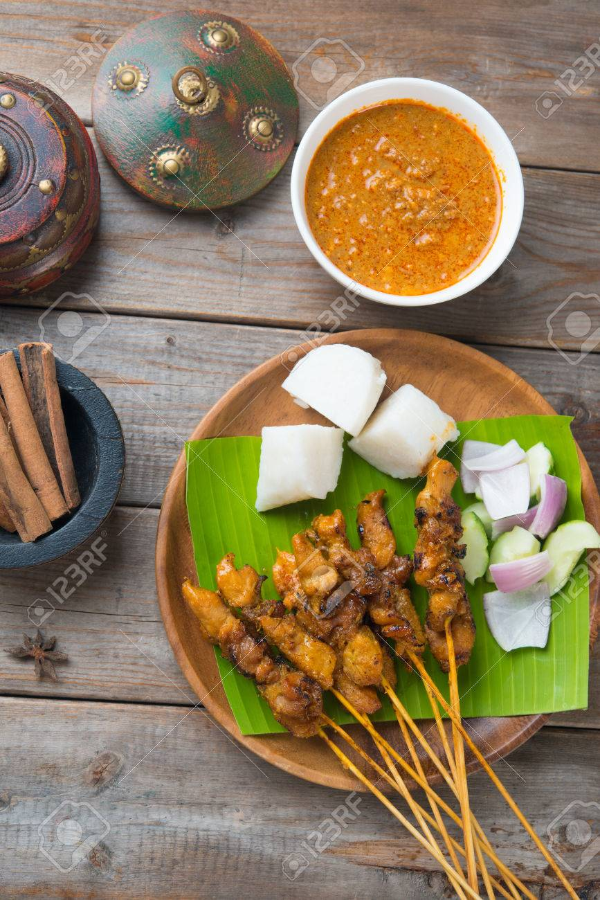 chicken satay shot from top down Stock Photo - 32358546
