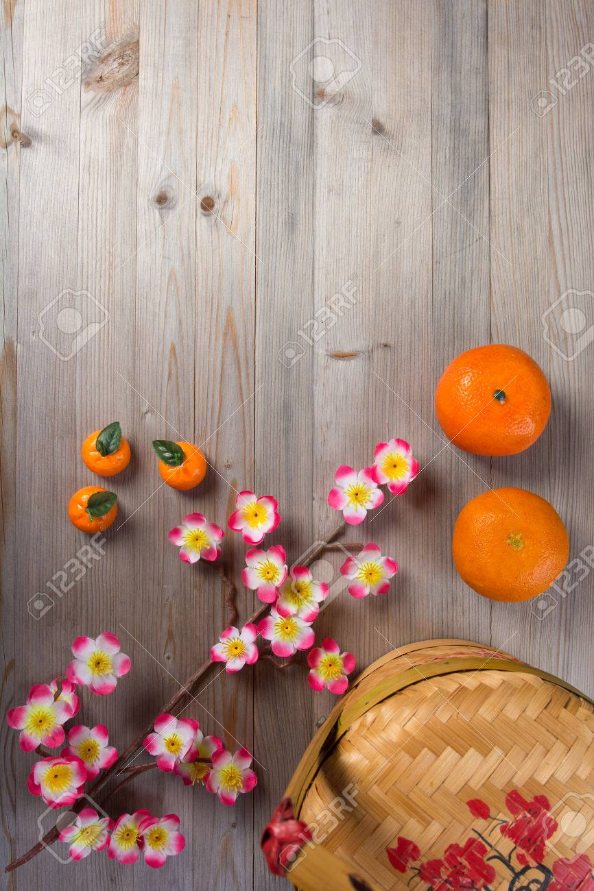 chinese new year decorations top down view with copyspace Stock Photo - 35157711