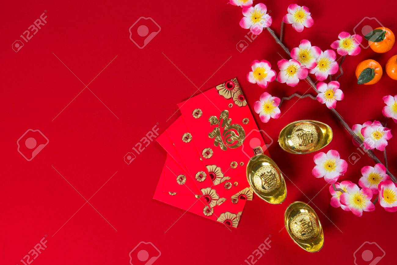 chinese new year decorations top down view with copyspace Stock Photo - 35157712