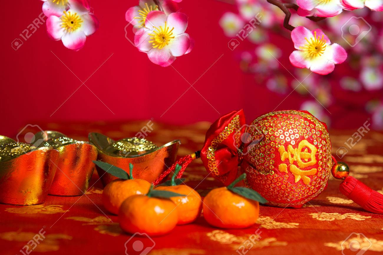 chinese new year decorations on cherry blossom tree stock photo 35160351 - Chinese New Year Decorations