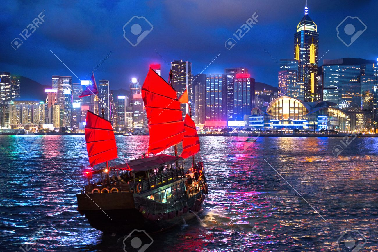 hong kong night view with junk ship on foreground Stock Photo - 47874561