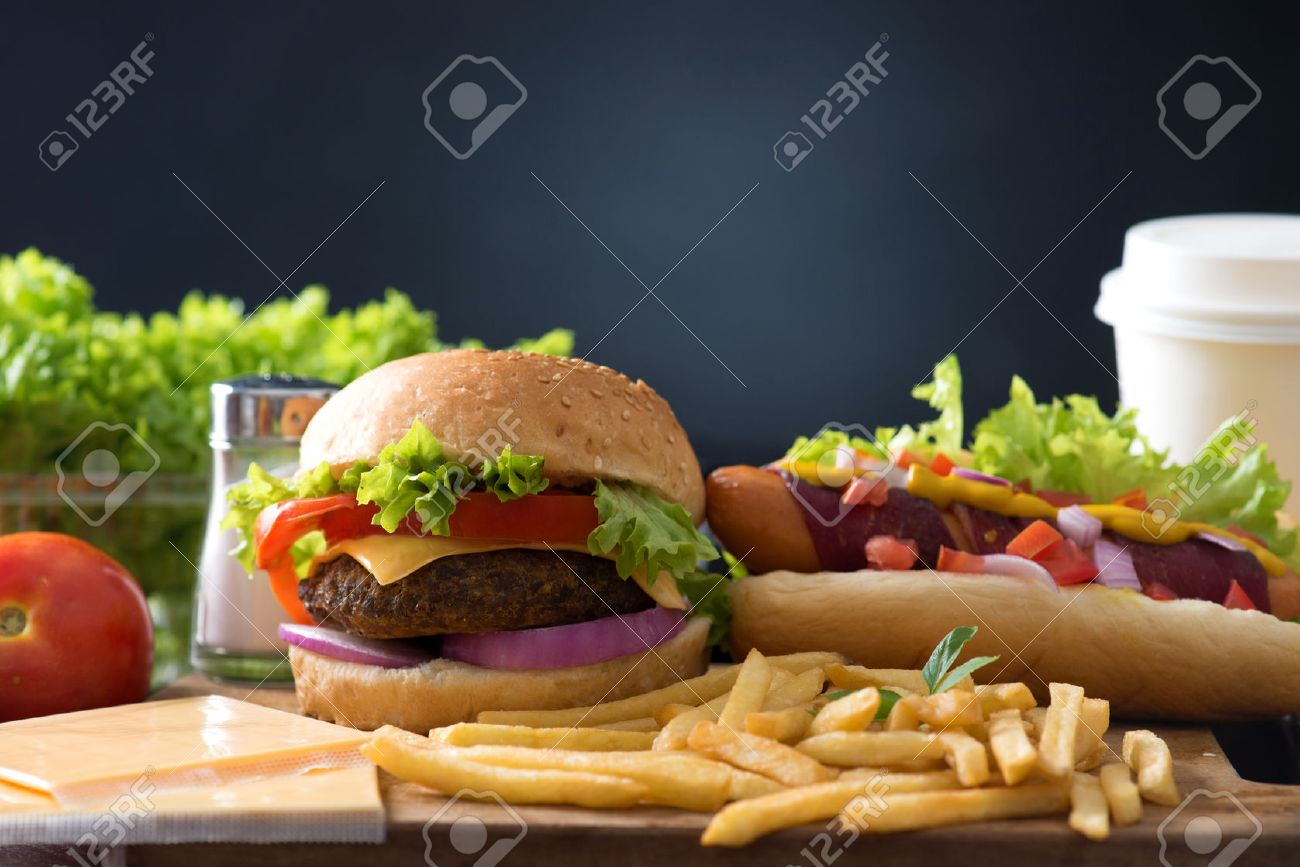 fast food hamburger, hot dog menu with burger, french fries, tomato drinks and many more Stock Photo - 48438681