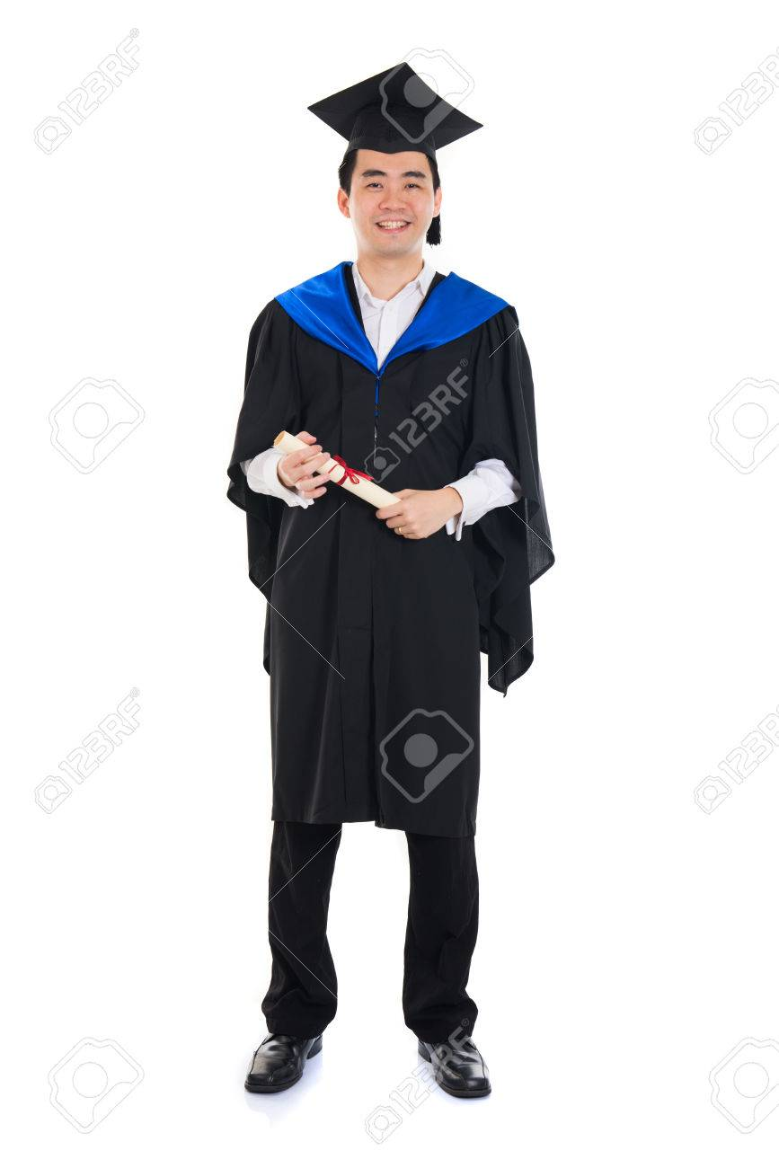 Asian Male University Student In Graduation Gown Stock Photo ...