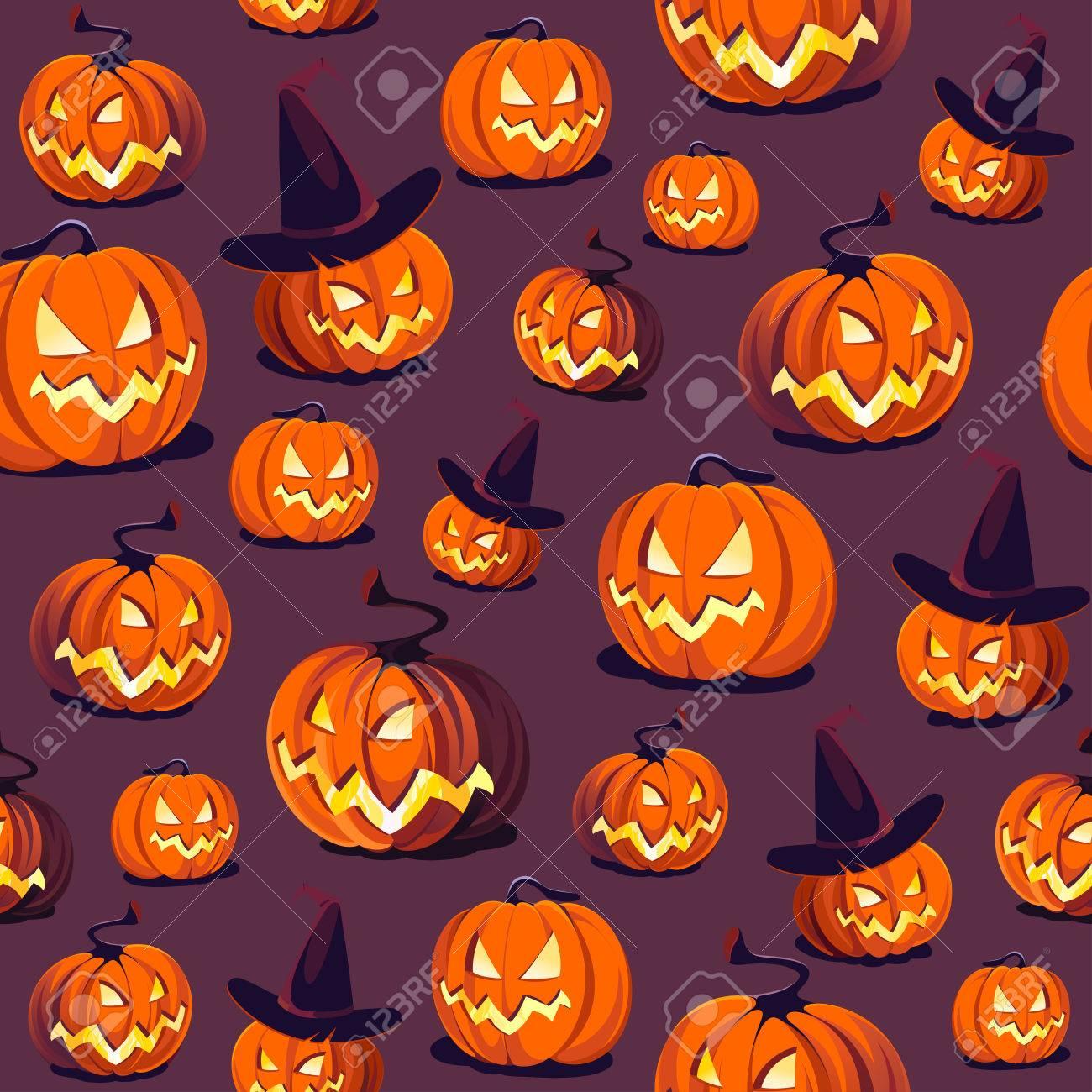 Halloween Pattern With Pumpkins On Dark Background