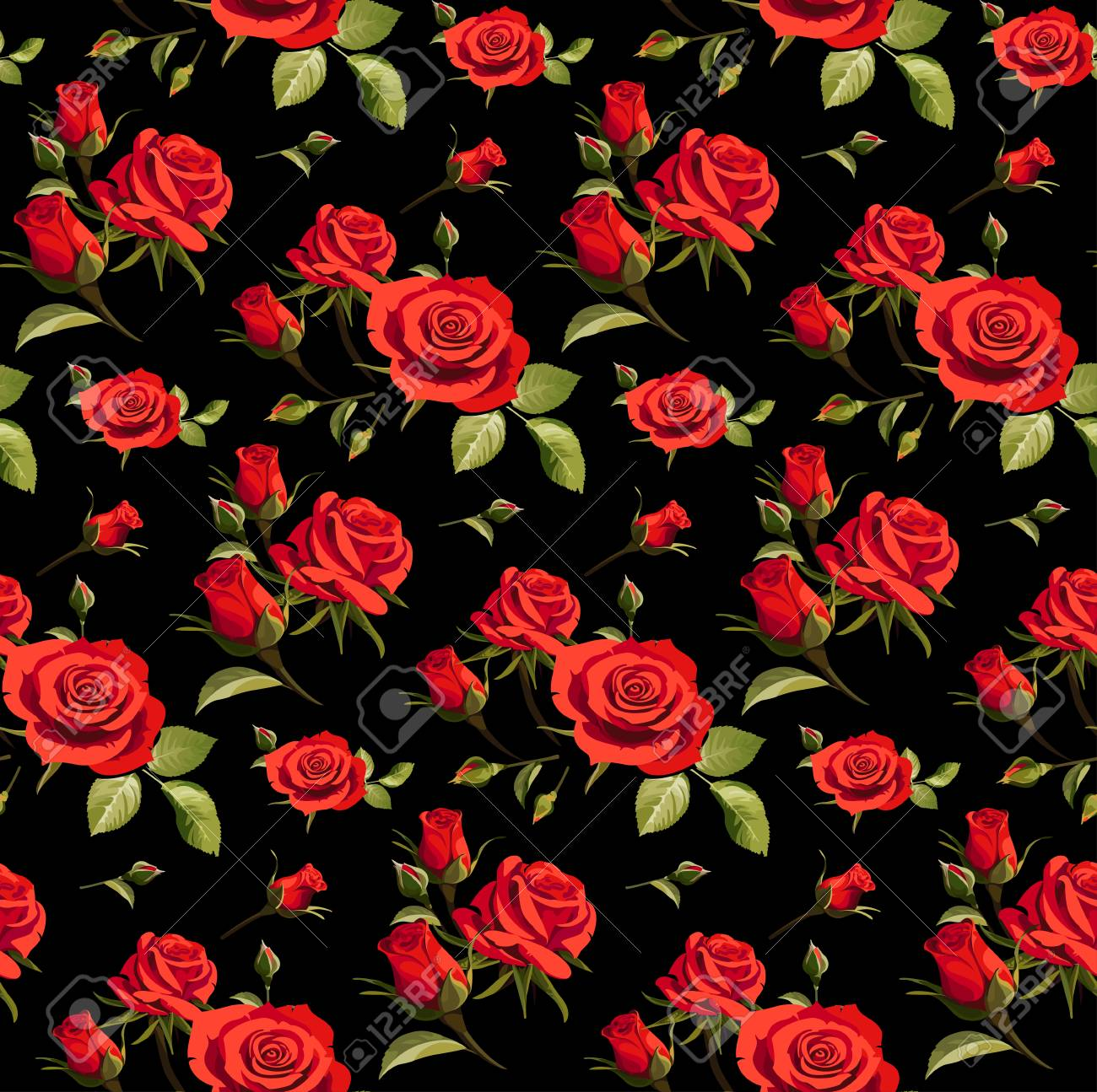 Seamless Floral Pattern With Red Roses On A Black Background