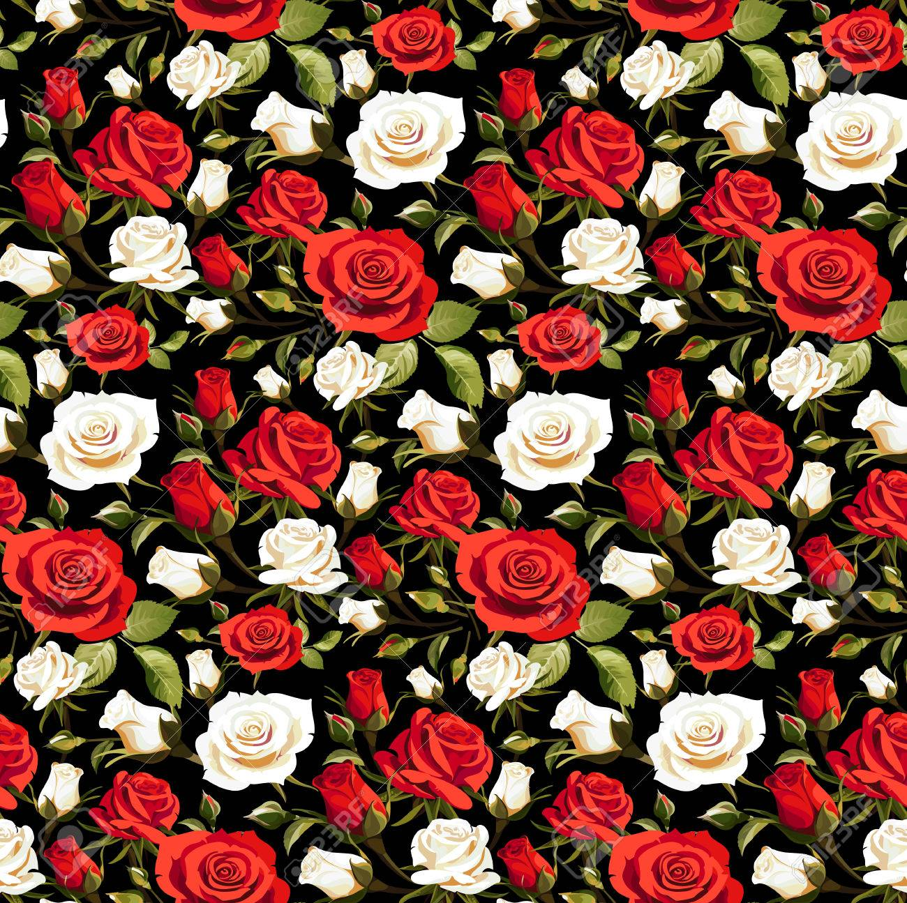 Seamless Floral Pattern With Red And White Roses On A Black