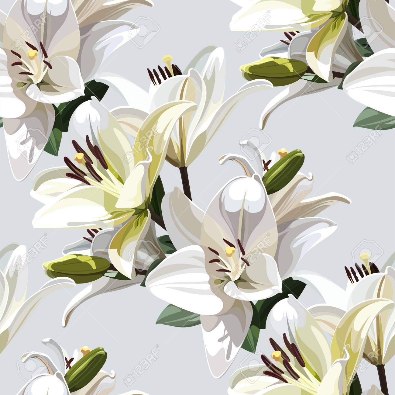 White flowers of lily madonna lily seamless floral pattern white flowers of lily madonna lily seamless floral pattern on light background izmirmasajfo
