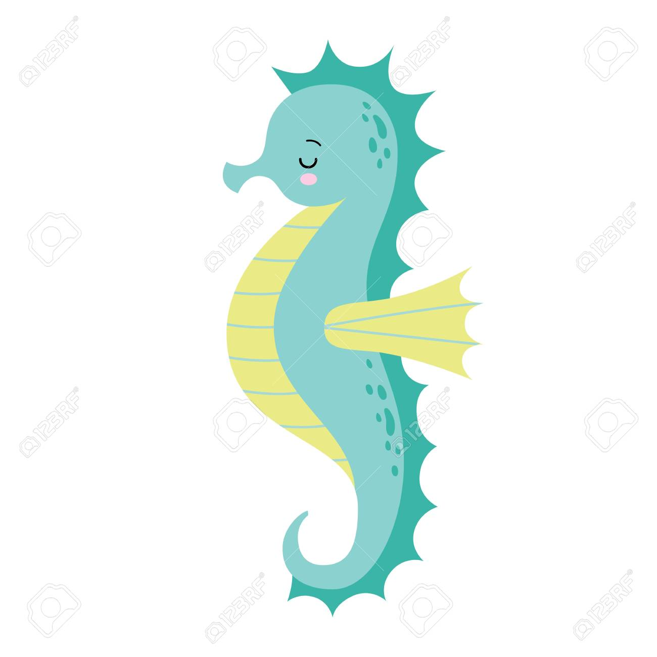 Cute Cartoon Sleeping Sea Horse Isolated Seahorse On A White Royalty Free Cliparts Vectors And Stock Illustration Image 125272967