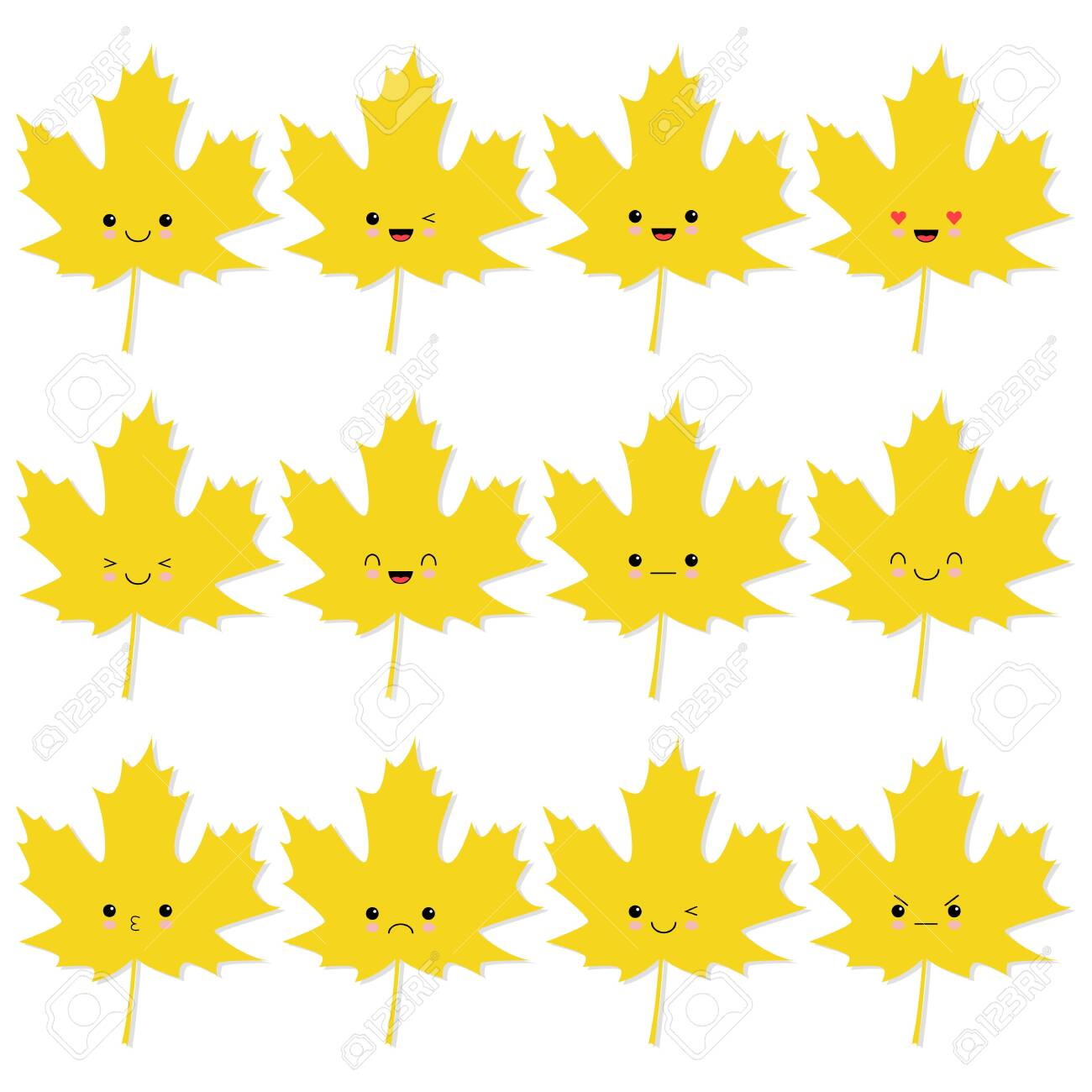 Collection Of Cute Autumn Leaves In Kawaii Style Vector Illustration Royalty Free Cliparts Vectors And Stock Illustration Image 124050808