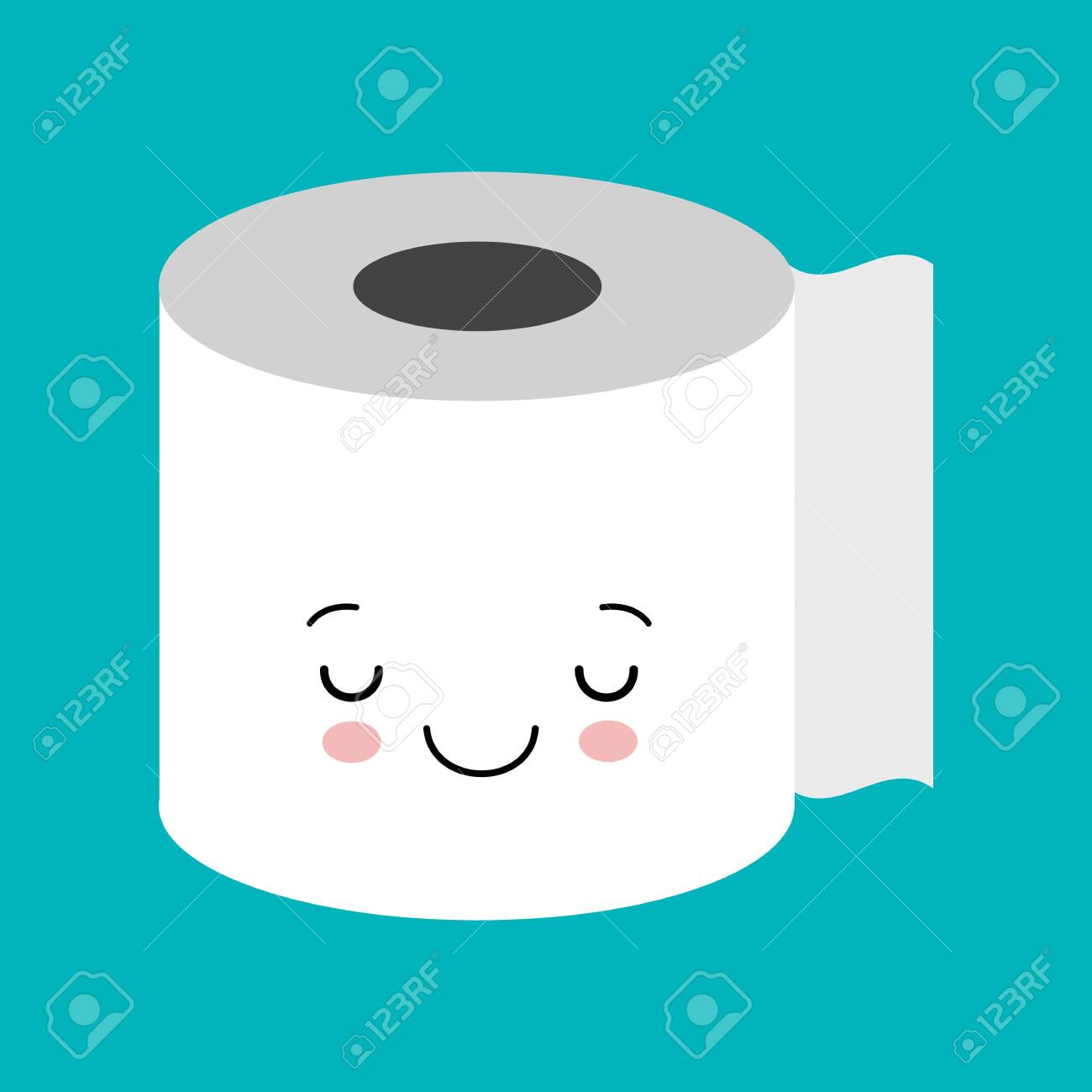 Funny Happy Cute Smiling Toilet Paper Vector Flat Cartoon Character