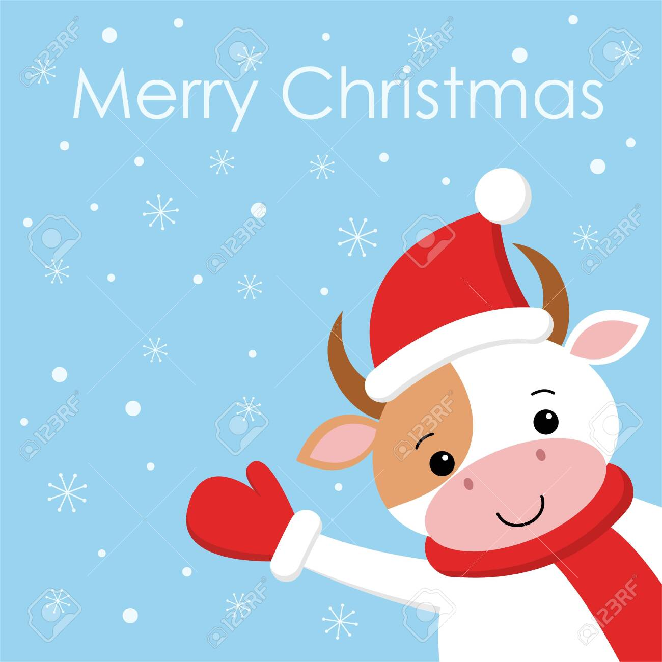 Merry Christmas Funny Images.Merry Christmas Funny Cute Cow On Background Snow Card In Cartoon
