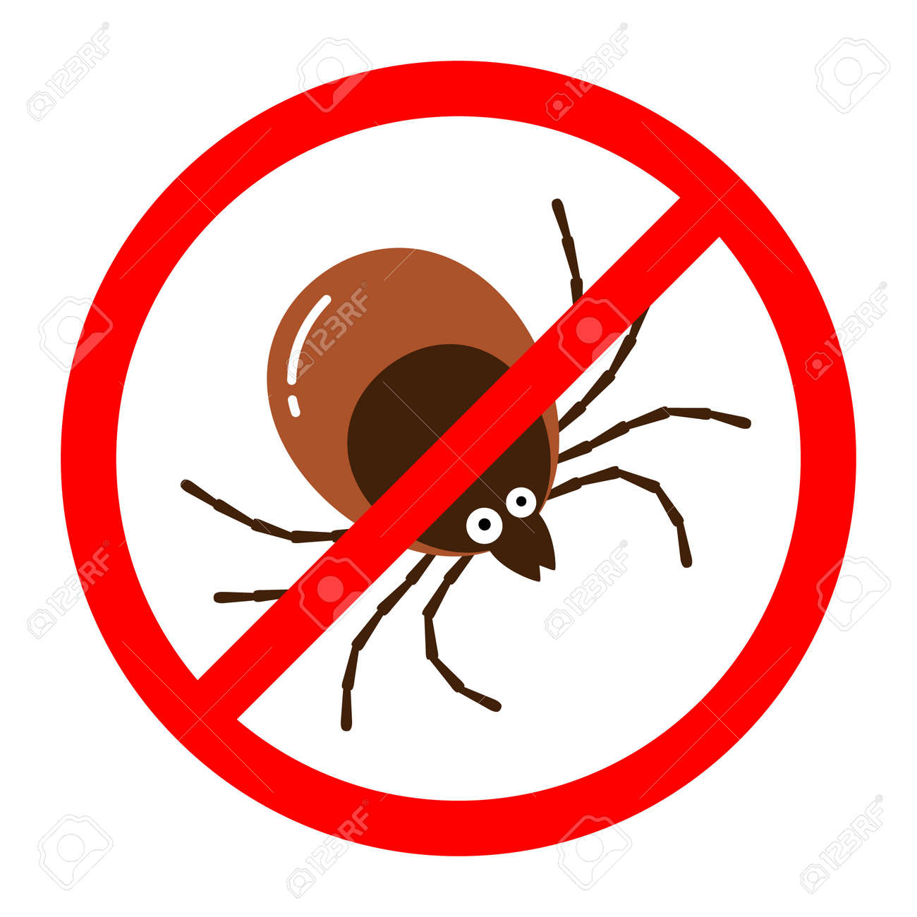 Red round anti tick warning sign with detailed tick insect bug. - 158998900