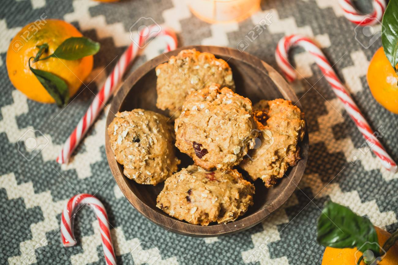 Oatmeal Cookies And Christmas Caramel Cane Stock Photo, Picture And ...