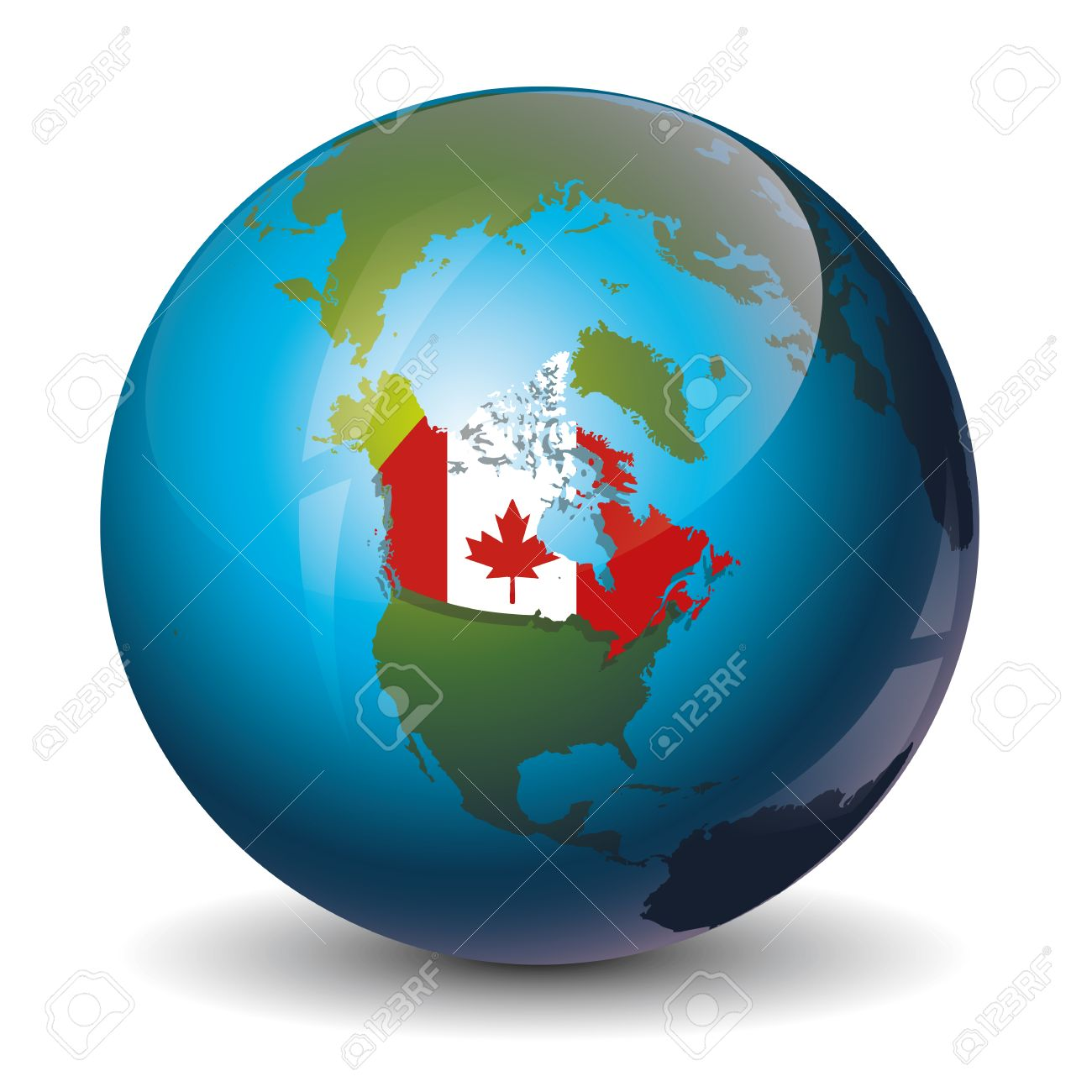 Map Of Canada On Globe.Icon Of The Canada On Globe World Map Royalty Free Cliparts Vectors