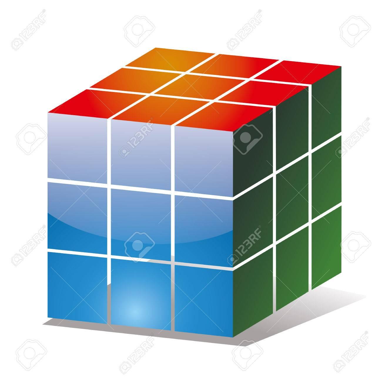 異なる色の側面とルービック キューブ アイコンのイラスト素材ベクタ