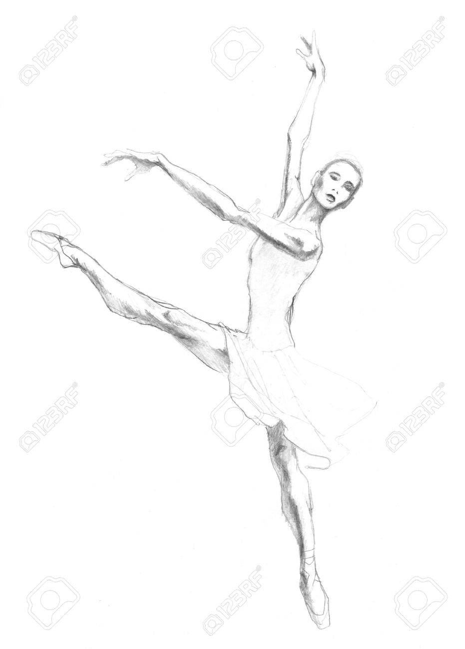 Dancing ballerina illustration painted by pencil sketch stock illustration 51669563
