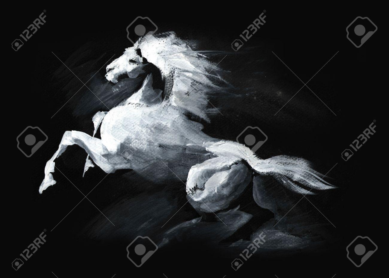 Fabelhaft Abbildung Der Weißen Lauf Pferd Auf Schwarzem Hintergrund #MJ_74