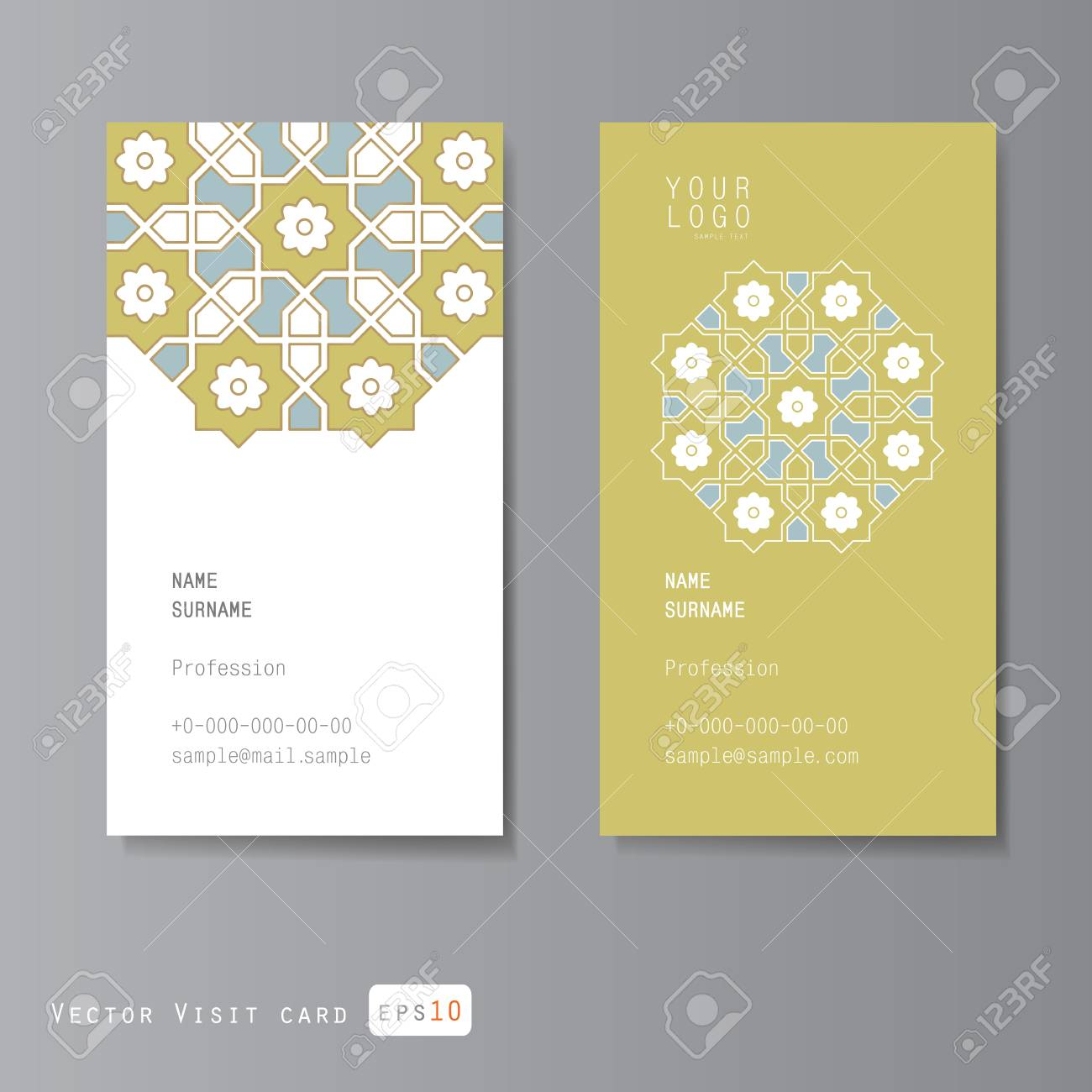 Cartes De Visite Reglees Avec Ornement Arabe Illustration Clip Art