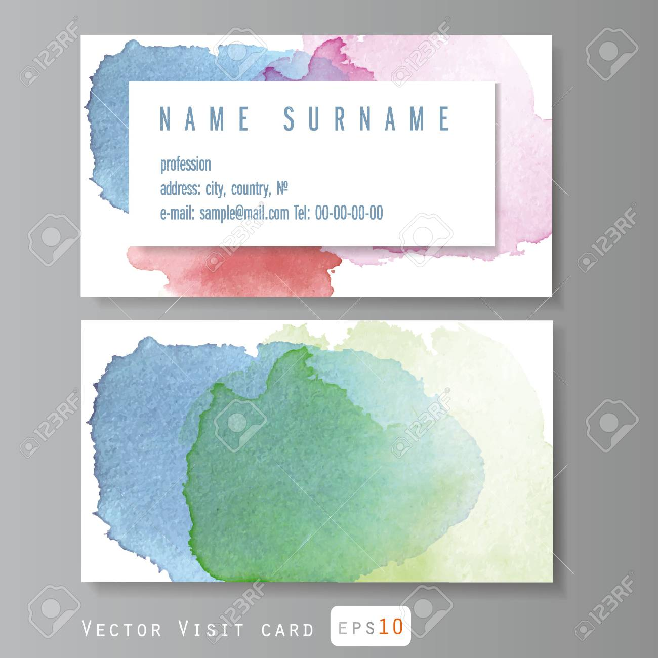 Vintage Simple Business Card Vector Template, With Watercolor ...