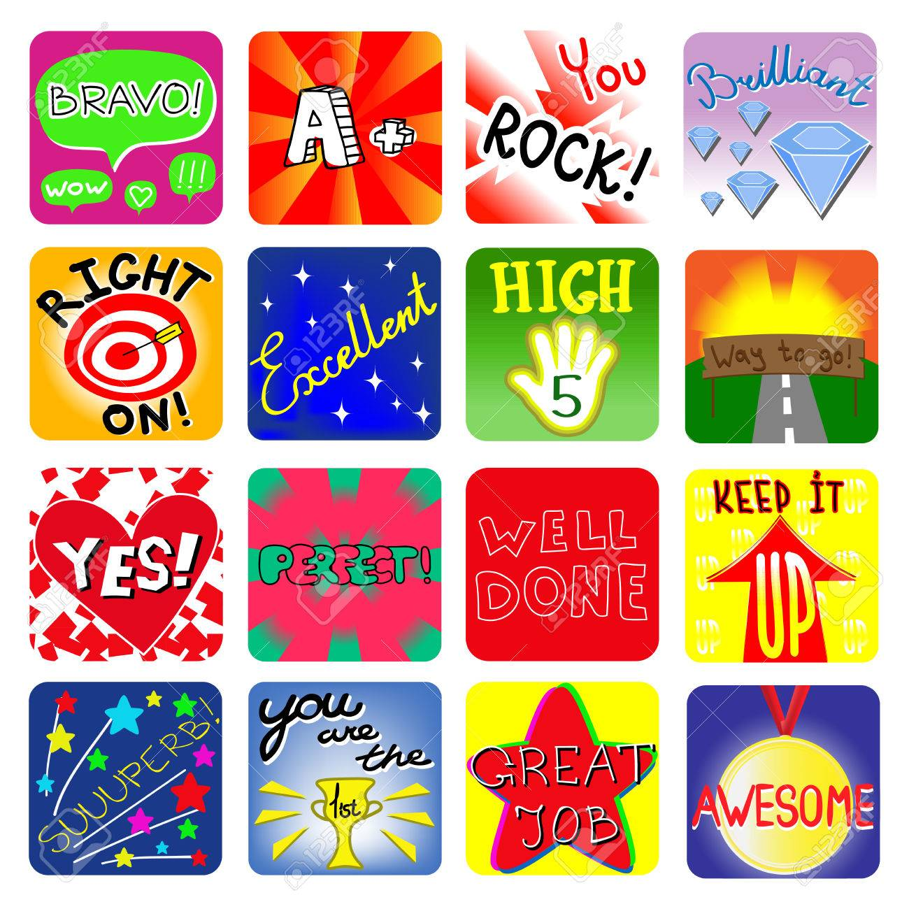 achievement school labels. set of 16 vector stickers royalty free