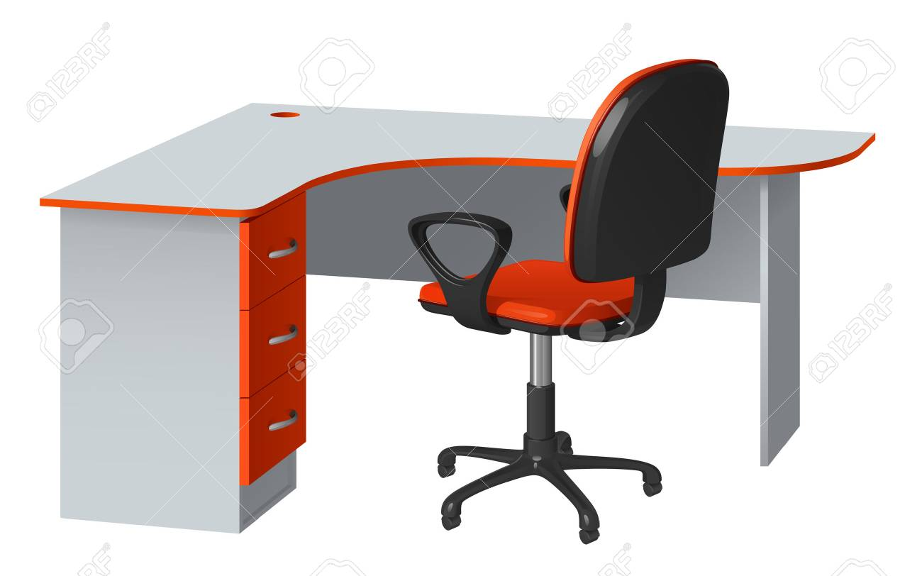 Corner Computer Desk With Cable Hole And Office Chair, Orange And Gray, On  White
