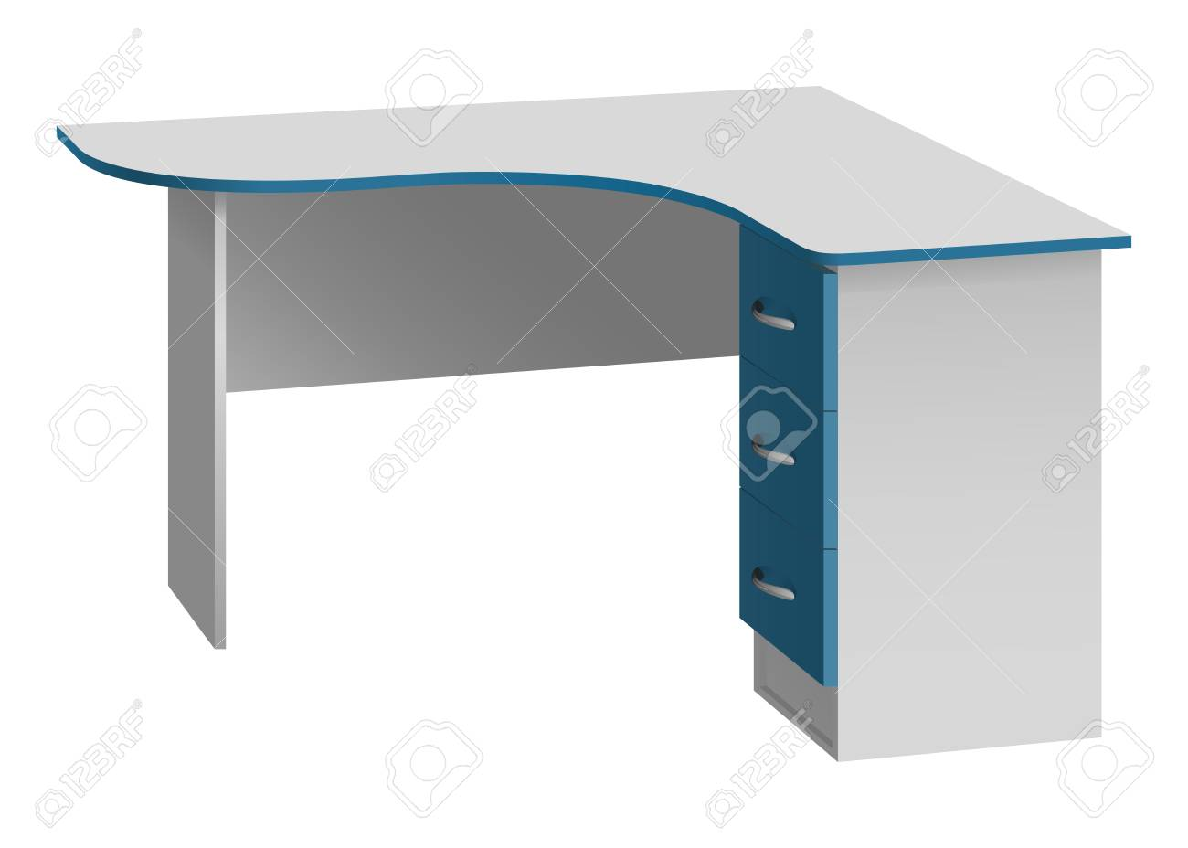 Office corner computer desk with rounded table top and bedside..
