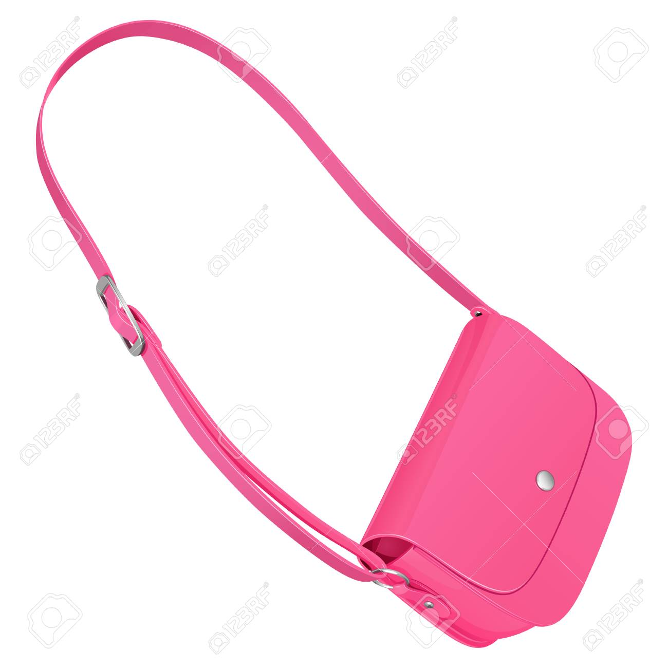 644d61b8cf7 Pink leather ladies bag with long belt isolated on white background