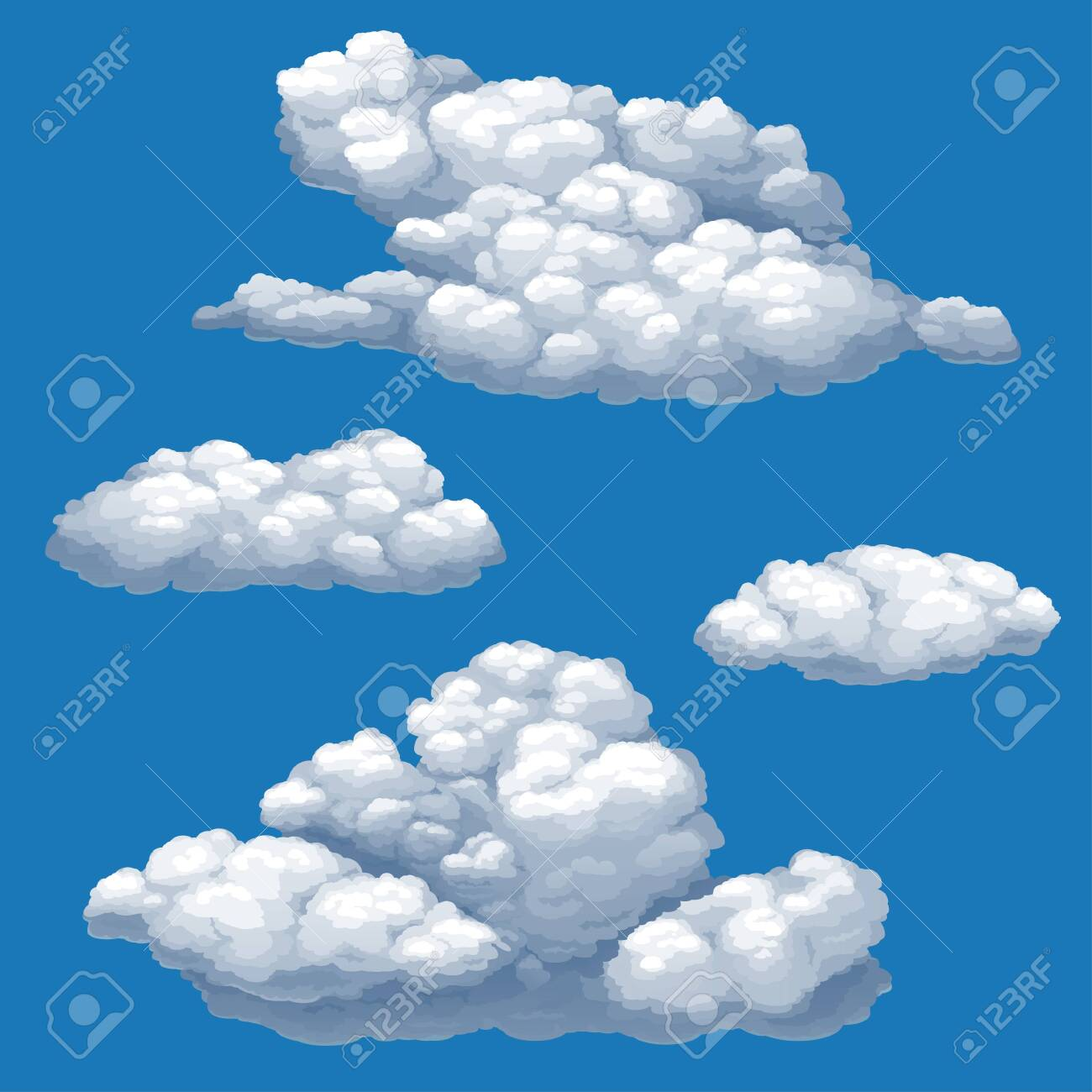 Set of vector isolated images of cumulus clouds on a blue sky background. - 142150143