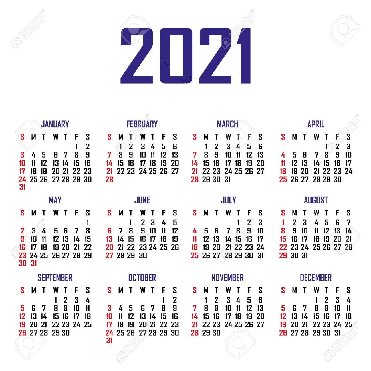 Calendar 2021. The week begins on Sunday. Simple calendar template. Portrait of vertical orientation. Annual organizer of stationery. Vector illustration - 152584215