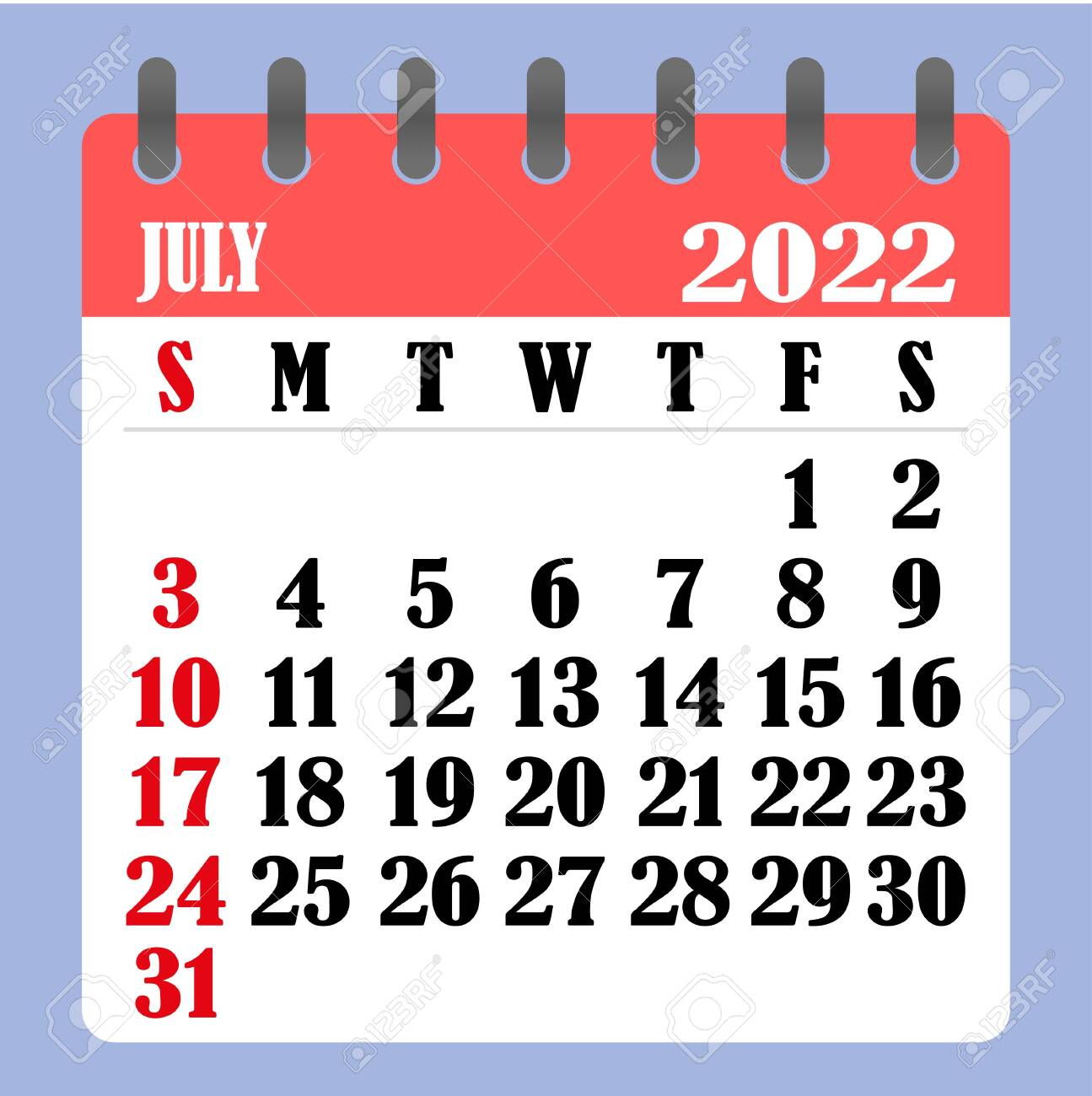 Calendar Of July 2022.Letter Calendar For July 2022 The Week Begins On Sunday Time Royalty Free Cliparts Vectors And Stock Illustration Image 152584296
