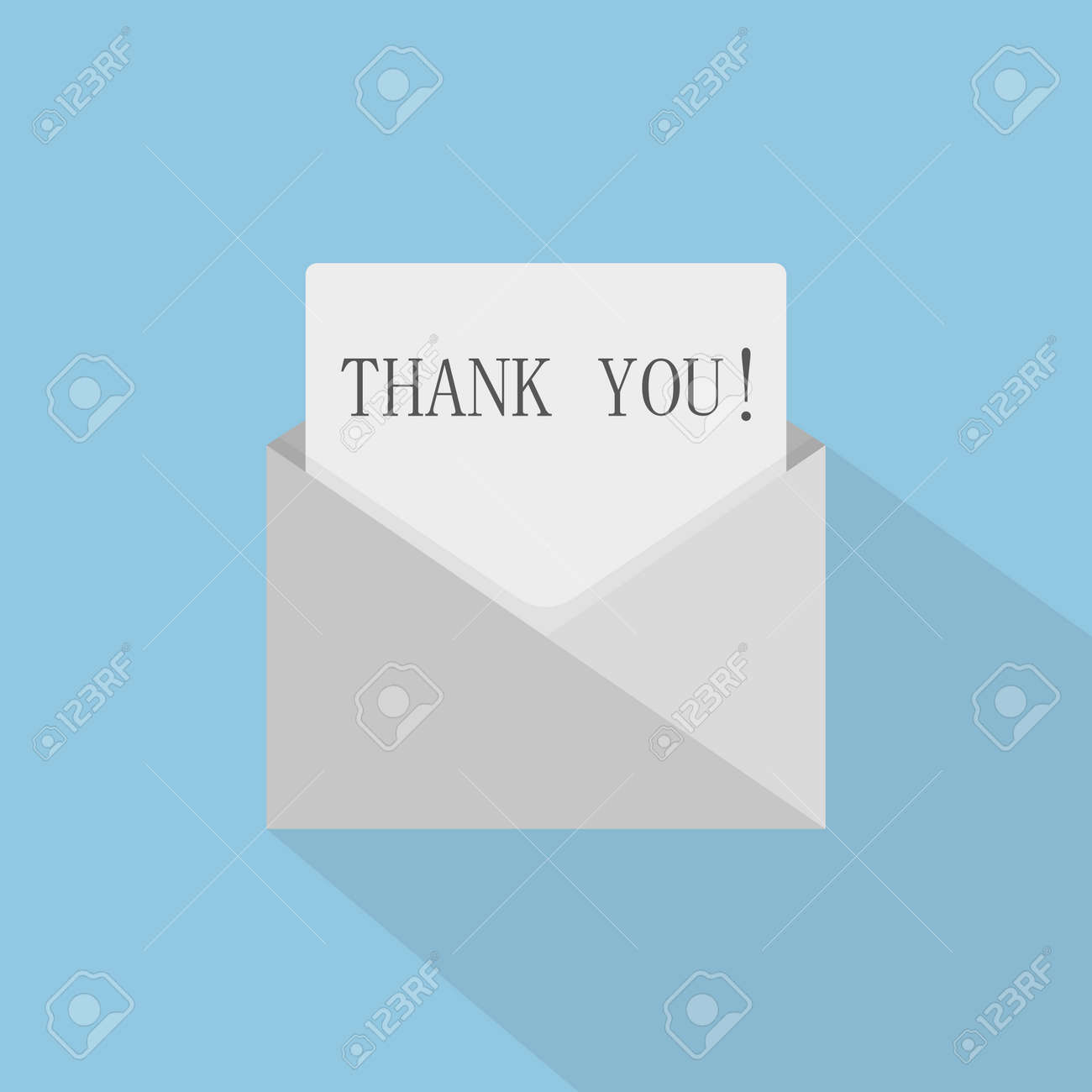 Thank you concept with open envelope. The letter says thank you. Vector illustration - 166681180