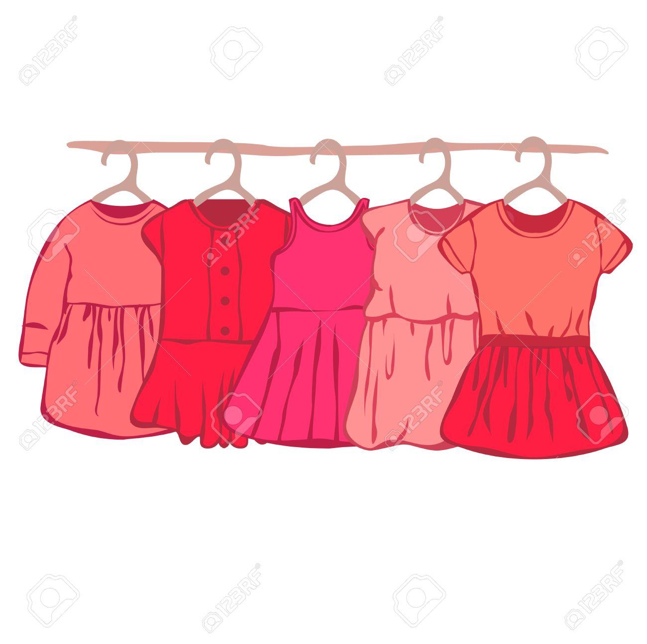 Garderobe clipart  Bébé Robe Du Cintre. Garde-robe Pour Petite Fille. Clip Art Libres ...
