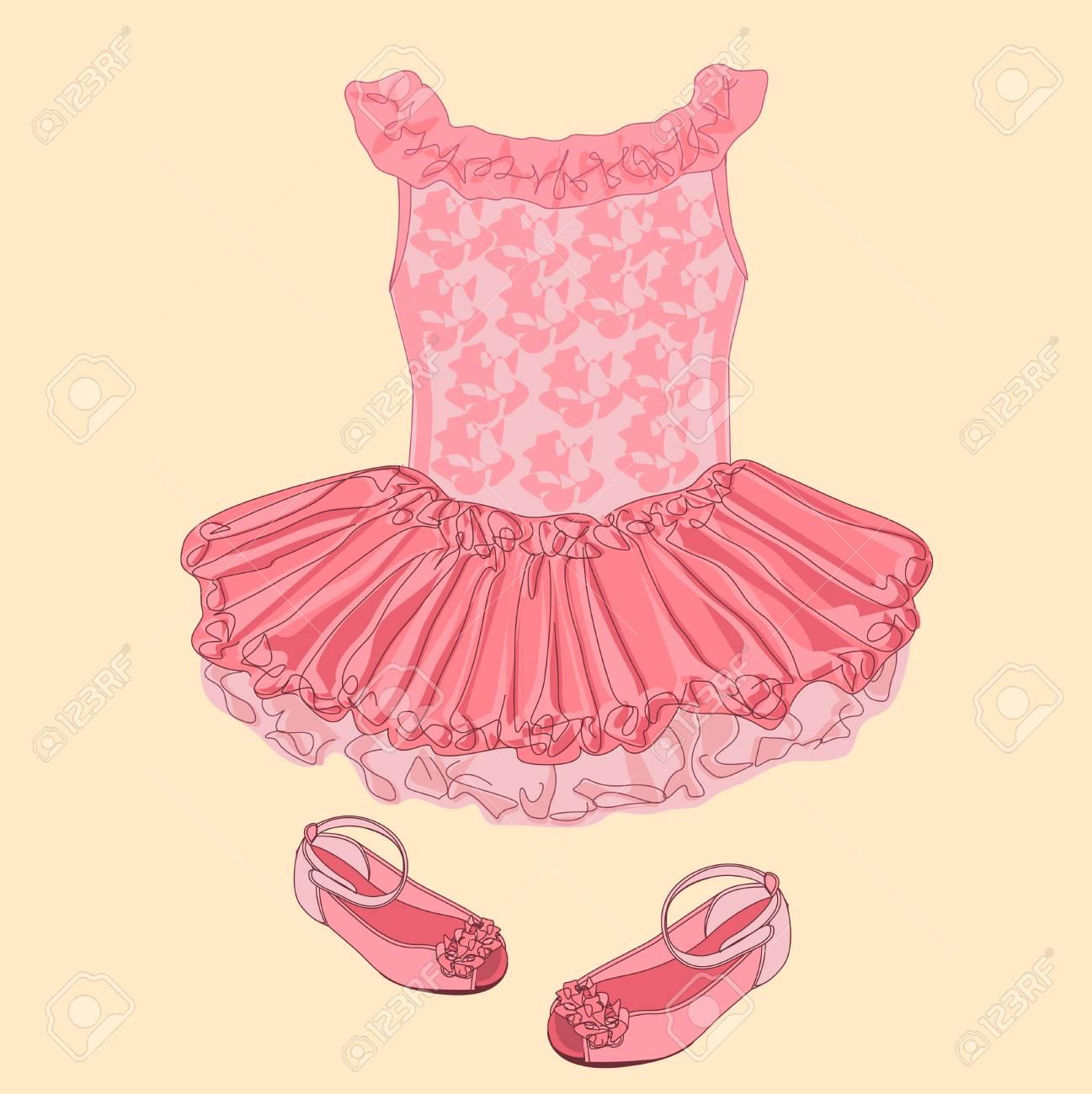 Boceto Del Vestido Del Bebé. Ropa Para Niña Pequeña. Ilustraciones ...